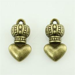 Wholesale Antique Bronze Charms Crown - 100pcs lot 17*9mm 2 colors antique silver, antique bronze crown heart charms, diy vintage jewelry wholesale
