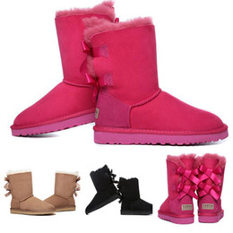 Wholesale Girls Navy Flats - New Winter Snow Boots VITUS Fashion Warm Women Bow Boot Style Christmas Ladies Short Shoes Girls Bailey Bowknot Leather Boots