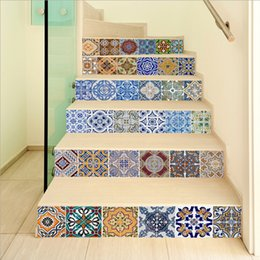 Wholesale Vinyl Stairs - 6pcs 3D self - adhesive Stairway Stickers Tile DIY Ceramic Geometric Pattern for Room Stairs Decoration Home Floor Wall Sticker