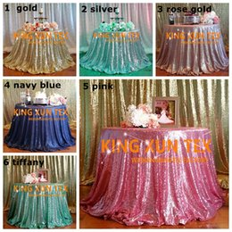 Wholesale Tablecloth Round Plain White - 5pcs Lot Sequin Table Cloth \ Cheap Wedding Tablecloth For Wedding And Event Decoration Free To Door Shipping