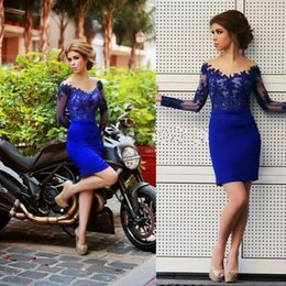 Wholesale Sexy Lace Bow Bodycon Dress - 2016 New Arabic Cocktail Dresses V Neck Royal Blue Illusion Long Sleeves Short Mini Bodycon Formal Evening Wear Prom Party Homecoming Gowns