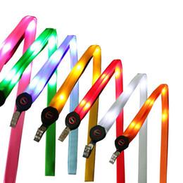 Wholesale Led Flashing Key Chain - LED Light Up Lanyard Key Chain ID Keys Holder 3 Modes Flashing Hanging Rope 7 Colors 1000pcs OOA3814