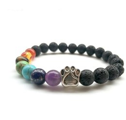 Wholesale Dog Bar - 2018 New Dog Paw bead bracelets Natural Lava stone hoard seven chakras beaded bracelets volcanic stone drops dog paw bracelets