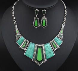 Wholesale Gray Metal South - Necklace+Earrings Fashion Alloy Metal Charming Pendants Necklaces Wedding Collar Statement Jewelry Sets For Women GZ93673