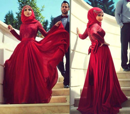 Wholesale Engagement Dresses Custom Made - 2015 Newest Red A-line Muslim Hijab Evening Dresses Lace High Neck Long Sleeves with Bow Chiffon Floor-length Arabic Formal Engagement Gowns