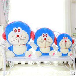 Wholesale Doraemon Birthday - Wholesale-Newly DIY 40cm 50cm Headset Doraemon Toy Cartoon Animal Doll Pure Cotton Pokonyan Bolster Hobbies Stuffed Birthday Gift TY205