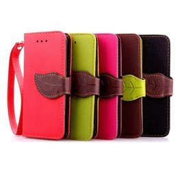 Wholesale Iphone 4s Covers Wallet - Leaf Wallet Flip PU Leather Case Stand TPU Cover With Card Slots for iPhone 4 4s 5 5s 6 Plus 6s Plus No Package free DHL
