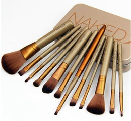 Wholesale Iron Nylon - 50pc lot Professional Nylon Hair 12 Makeup Brush Kit Sets for Eyeshadow Kabuki Cosmetic Brushes Tool with iron box packing DHL free ship