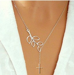 Wholesale Tungsten Cross Necklaces - Retro silver Infinity branches and cross chain necklace clavicle Style Retro bronze necklace NecklacesLeather Bracelet women girl gifts