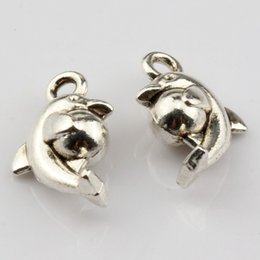 Wholesale Antique Dolphins - Hot ! 200pcs Antique silver Lovely Dolphin Ball Charm Pendants DIY Jewelry 9x15mm