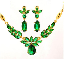 Wholesale Cz Jewelry Hot Pink - Hot Women's Fashion 18k Gold CZ Diamond Necklace+Earrings Flower Wedding Jewelry Sets