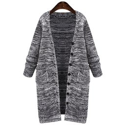 Wholesale Women Coats Fat - 2017 winter Europe and America large size women fat MM knit cardigan sweater female long thick loose coat