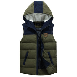 Wholesale mens waistcoat green vest - Fall-New Casual Duck Down Hooded Vest Mens Winter Sleeveless Jacket Plus Size Army Green Spliced Colors Thick Warm Waistcoat orange
