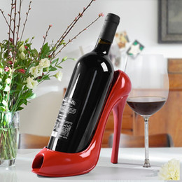 Wholesale Sculpture Decoration - High Heel Shoe Wine Bottle Holder Wine Rack Practical Sculpture Wine Racks Home Decoration Accessories Free eapcket