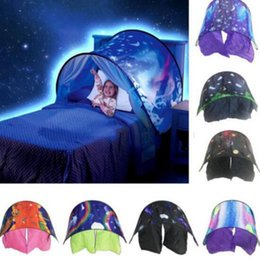 Wholesale White Net Lighting - 9 Styles 80*230cm Kids Dream Tents Folding Type Unicorn Moon White Clouds Cosmic Space Baby Mosquito Net Without Night Light CCA8208 10pcs