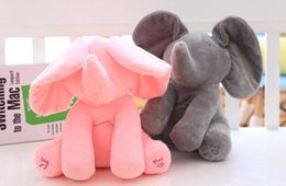 Wholesale Toy Moving Animal Doll - 30cm Plush Elephant Dog Doll Peek A Boo Hide Seek Elephant Toy PEEK-A-BOO Singing Baby Music Toys Ears Flaping Move Funny Doll KKA2496