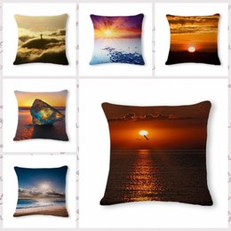 Wholesale Sunrise Case - Nordic Pattern Sunrise Printed Linen Cotton Cushion Cover Scenery Home Decorative Sofa Throw Pillow Case Cover Almofadas 45&45cm