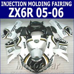 Wholesale Kawasaki Lucky - 100% Injection molding fairing kit for Kawasaki ZX6R 2005 2006 ZX636 white black LUCKY STRIKE motorcycle fairings Ninja 636 ZX-6R 05 06 GH6