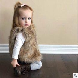 Wholesale Toddler Fur Jacket - Baby girls vest jacket toddler faux fur waistcoats children V-neck fleece waistcoat winter kids thicken warmer coat fit 1-6 Years R0797
