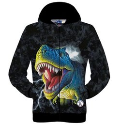 Wholesale Dinosaur Tracksuit - Free shipping Hot new High quality 3D printed dinosaur cotton coat hip hop sweatshirts men hoodies winter jogger Home sportswear tracksuit