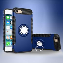 Étui en métal iphone metal en Ligne-Pour Samsung S8 Iphone X 8 Cas de Téléphone portable Mounter Double Couche Avec Support De Voiture De Fer Feuille Support Magnétique Anneau Armure Cas de Téléphone