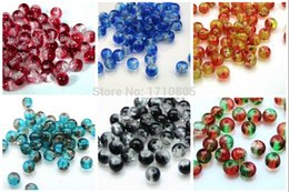 Wholesale Crackle Glass Beads Free Shipping - Fashion Jewelry Charm 300PCS Round Color Glass Crackle beads Small Hole BeadsJewelry Findings Multicolor Free Shipping B178