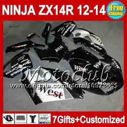carenado zx14 negro Rebajas 7cambios para KAWASAKI NINJA ZX14R 12-13 ZX 14R 25C258 Negro oeste ZX-14R 2012 2013 2012 Negro blanco 2013 ZX 14 R 12 13 12 13 ZX14 R Fairing