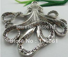 Wholesale vintage octopus - Fashion Vintage Silvers Filigree Octopus Alloy Floating Locket Charms Pendants For Bracelet Jewelry Findings Bijoux Accessorie 10pcs Z1213