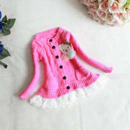 Wholesale Knit Girls Lace Cardigan - Baby Girls Cardigan 2015 Autumn Girls Long Sleeve lovely bear lace hem Single-breasted knit Sweater Children Outwear 2 Colors