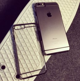 Wholesale Crystal Clear Iphone5 - Crystal Transparent Clear Soft TPU Gel Back Case Cover With Colorful Bumper Cover For iphone 6 Plus iphone 6 iphone5
