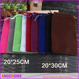 Wholesale Velvet Bags Multi Color - wholesale Multi-color 20*30cm 20*25cm big velvet jewelry pouches for necklace bracelet earring gift package Velvet Gift Bags candy bag