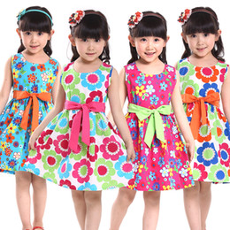 Wholesale Casual Girls Purple Dress - Summer 2015 kids clothes floral bow Casual Cotton Sleeveless baby girls clothes Flowers girl dresses princess tank girl dress