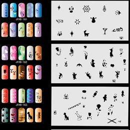 Wholesale Nail Designs Airbrush - Wholesale-20pcs Airbrush Nail Stencil Sheets with 300 Designs Art Paint Pages Set No.9 - Halloween, Christmas, etc