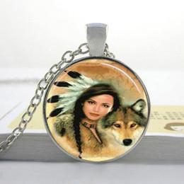 Wholesale Native American Fashions - Fashion Necklaces Women Wolf Necklace Native American Woman with Wolf Jewelry Necklace Glass Dome Pendant I42