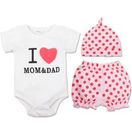 Wholesale I Love Mum Dad - Baby Clothing I love Mum And Dad Romper Hat Pant 3PCS Set Summer Short Sleeve Baby Boy Girl Clothes Set Roupa De Bebe
