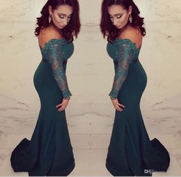 Wholesale Sexy Shoulder Evening Dresses - 2017 sexy long evening dresses African sleeves mermaid prom dresses lace Arabic dark green formal mother of the bride dresses plus size
