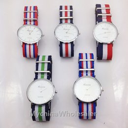 Wholesale Famous Women Military - Top Brand Luxury Style Geneva Watches For Men Nylon Strap Military Quartz Wristwatch Clock Famous Brand Men Women Fabric Strap Sports Reloj