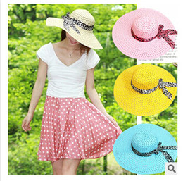 Wholesale Large Ladies Straw Hats - hot Fashion Summer 9 colors Straw outdoor Hat Cap Women Ladies Wide Large Brim Floppy Beach Hat female Sun hat Women drop shipping