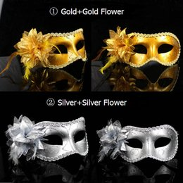 Wholesale Gold Masquerade Masks Flowers - 2016 Hotsale and high quality Women Sexy Hallowmas Venetian mask masquerade masks with flower feather mask dance party mask free ship