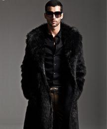 Wholesale Men Full Length Fur Coats - Wholesale- Men Fur Coat Winter 2017 Plus Size Faux Fur Coat Men Parka Jackets Full Length Leather Overcoats With Collar Fur coats