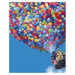 Wholesale Diy Printing Balloons - Inner Frame DIY Painting By Number Kits Home Decor Paintings For Living Room Wall Flight Balloon Hand Painted Canvas 40*50cm