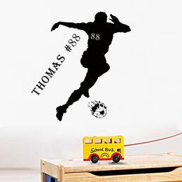 Wholesale Custom Murals - Personalised Soccer Player Vinyl Wall Sticker Custom-made Boys Name Decal Kids Room Decor