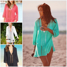 Wholesale Poncho Bikini - Sexy Women Mint Hollow Out Bikini Cover Up with Floral Crochet Poncho Mini Dress Wrap Dresses Smooth Beachwear 872 High Quality