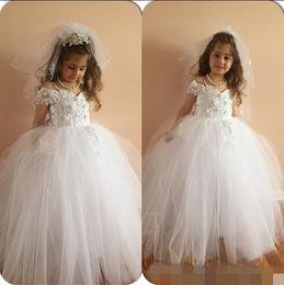 Wholesale Child Pageant Dresses Glitz - 2016 Off Shoulder Ball Gown Glitz Flower Girls Dresses Pearls Appliques Beads Tulle Lace Kids communion pageant dress children wedding gowns
