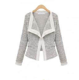 Sobretudo europa on-line-Atacado-frete grátis Europa 2015 outono nova moda mulheres jaquetas casaco de qualidade de linho de mangas compridas cardigan curto Outerwear