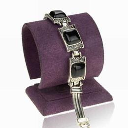Wholesale Jade Bracelet Carving - New Smoky Tibetan Silver Chain Bracelets 2015 Jade Black Charm Cameo Carved Onyx Wristband Tennis Bracelets Bangles