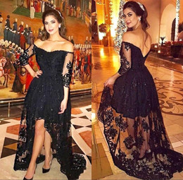 Wholesale Long Sleeve White Night Gown - 2018 Black Lace High Low Prom Party Dress Plus Size Long Sleeves Off The Shoulder Formal Night Celebrity Arabic Women Evening Gowns