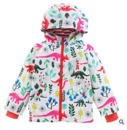 Wholesale Infant Baby Boy Jackets - Kids Jacket Raincaot 2018 Spring Fall Long Sleeve Hooded Coat Waterproof Jacket Coat Boys Animal Dinosaur Infant Toddler Baby Clothing