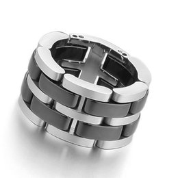 Wholesale Custom Engraved Rings - Men's stainless steel hollow black ceramic ring with engraved silver polishing unique link, custom jewelry wholesale