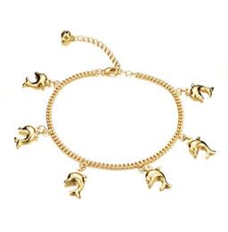 Fischfußkettchen online-Nette Anhänger Anhänger Frau Fußkettchen Neue Mode Gold Farbe Frauen Vintage Knöchel Schmuck Armband KZ735